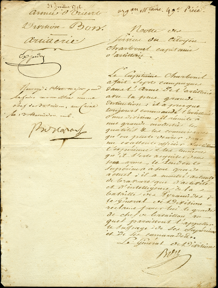 Handwritten letter from General of the Division Bons to Napoleon, July 31, 1798