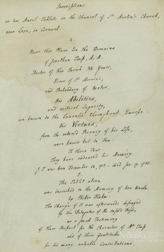 Toup's Inscriptions copied from his tables at the St. Martin's Church