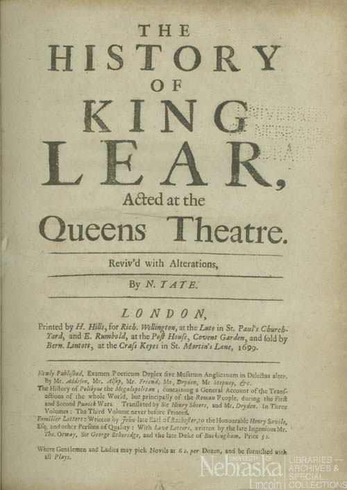 King Lear Title Page