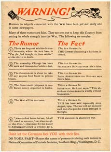 Poster warning citizens of German lies