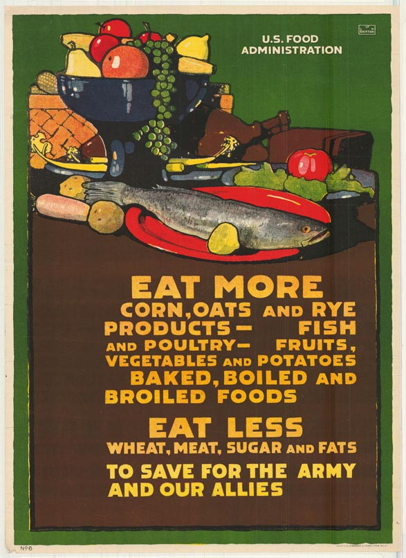 Poster encouraging consumers to eat more corn, oats and rye products.