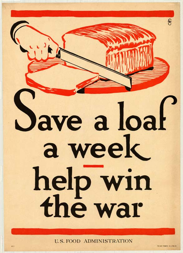 Poster encouraging consumers to conserve bread.