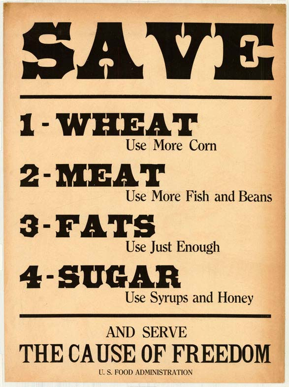 Poster encouraging consumers to conserve wheat, meat, fats, and sugar.