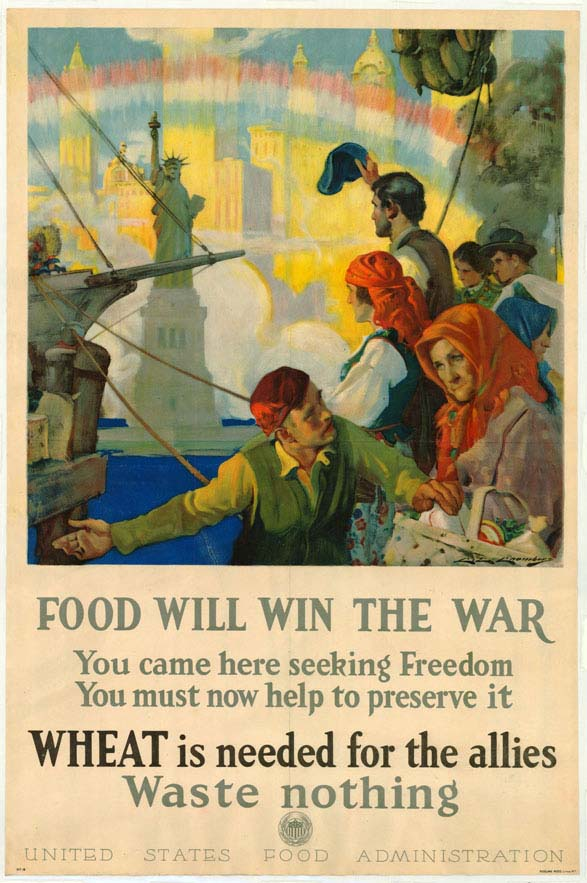 Poster informing consumers that food will win the war, encouraging them to waste no food.