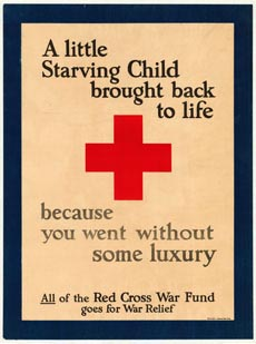 Poster encouraging people to donate to the Red Cross War Fund