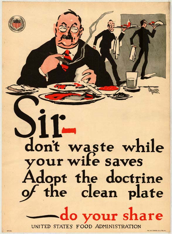 A poster encouraging specifically male consumers to avoid wasting their food.