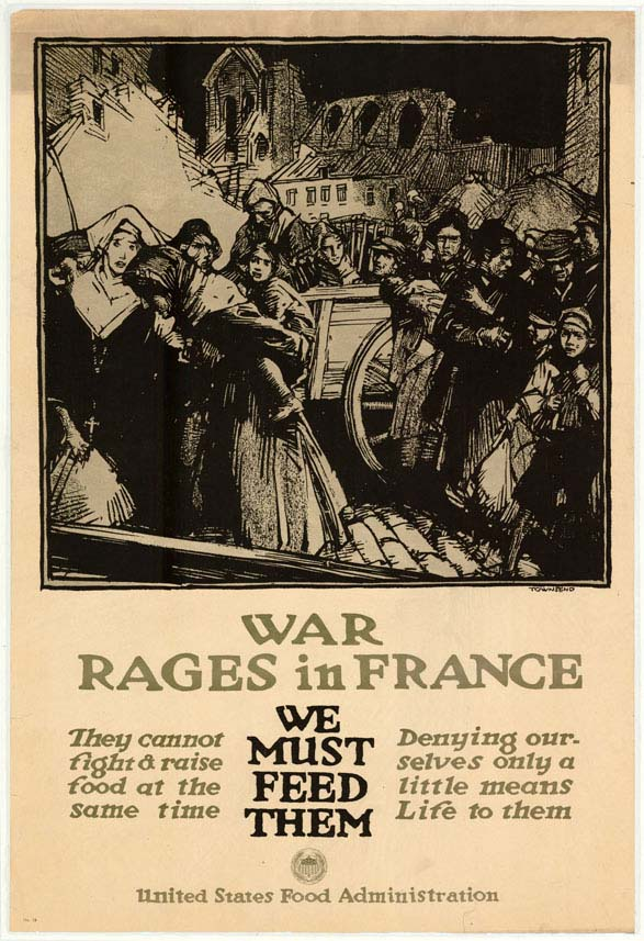 Poster informing consumers that they must send food to France due to the war.