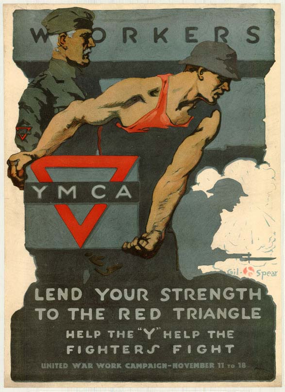 YMCA poster encouraging workers to lend their strength