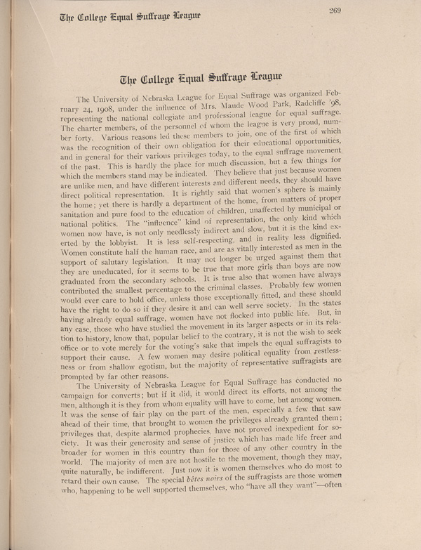 Cornhusker Yearbook Page Detailing the Creation of the College Equal Suffrage League