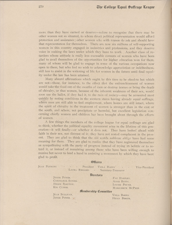 Second Page to the UNL Yearbook Entry Detailing the Creation of the College Equal Suffrage League