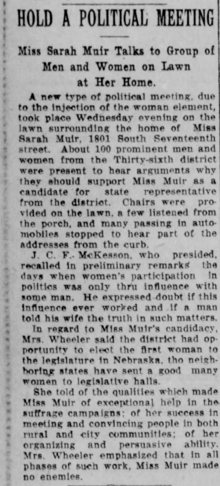 Newspaper article about Sarah Muir campaigning