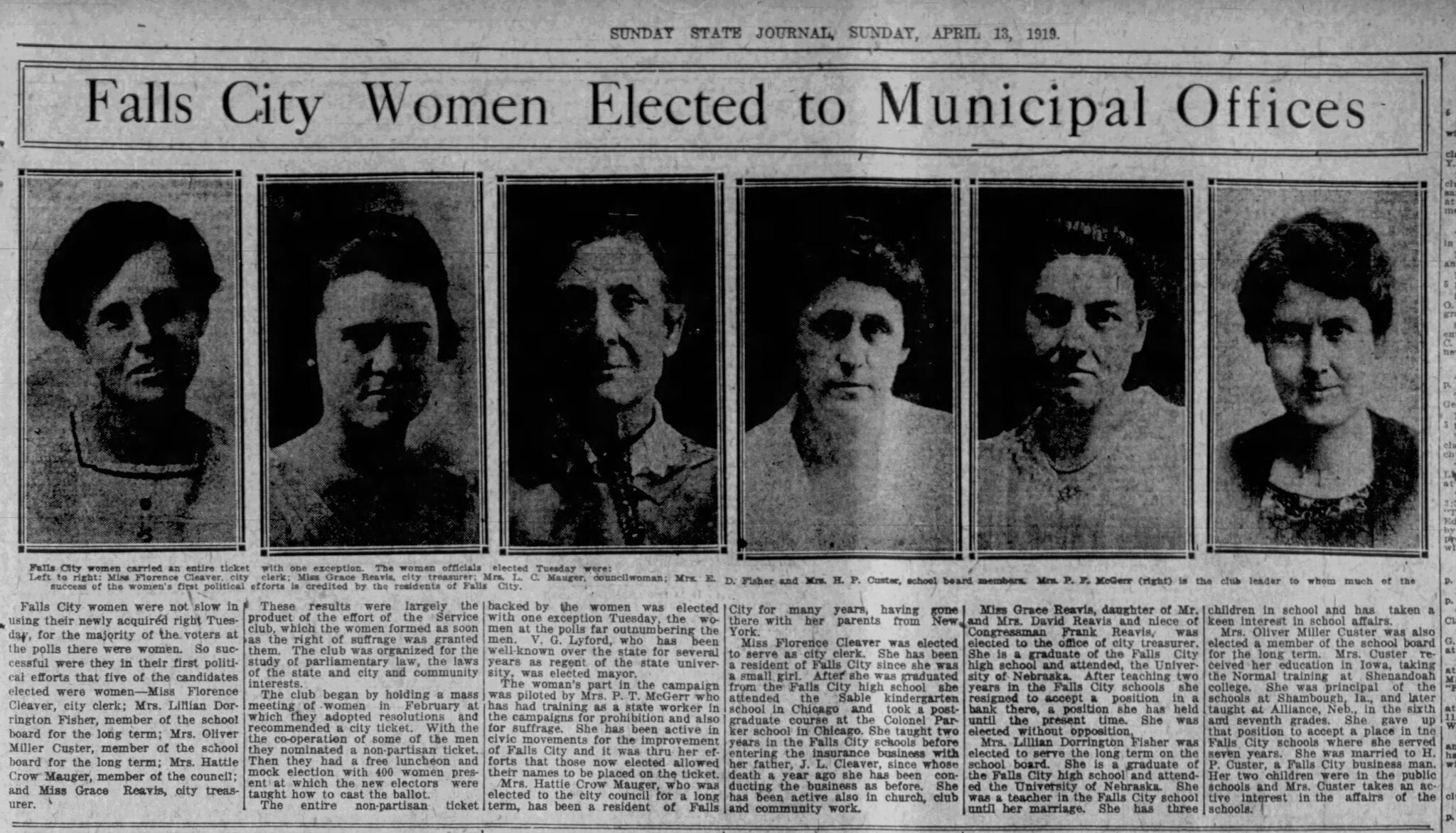 Newspaper Article Detailing the Recent Municipal Election in Which Women Were Elected to