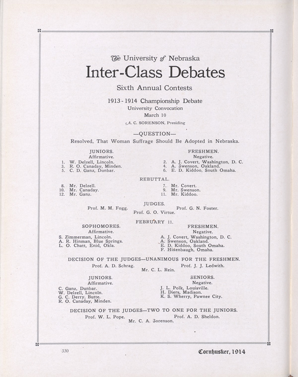 Yearbook Page Detailing the Inter-Class Debate of Suffrage