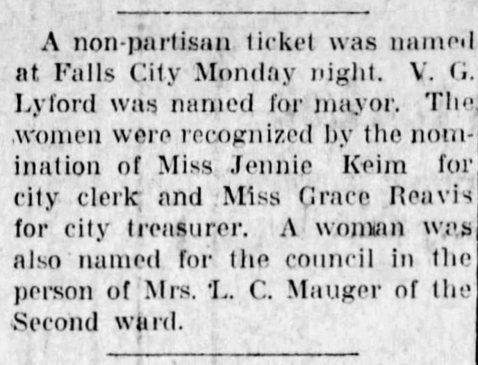 Newspaper article detailing Grace Reavis becoming Falls City Treasurer
