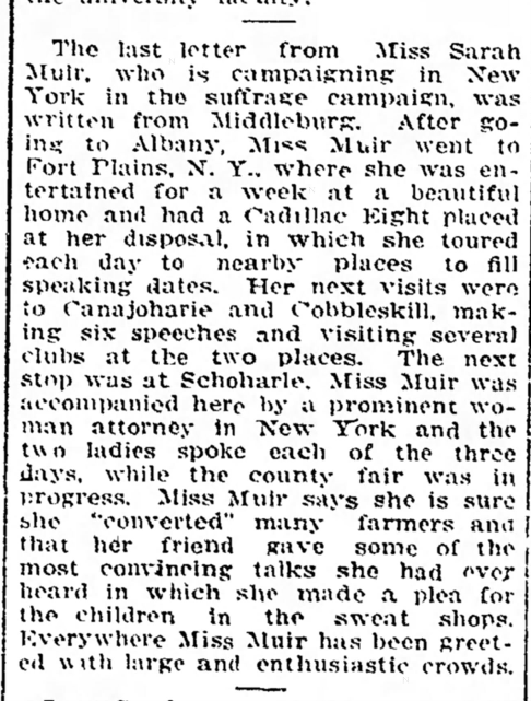 Newspaper article about Sarah Muir campaigning for suffrage in New York