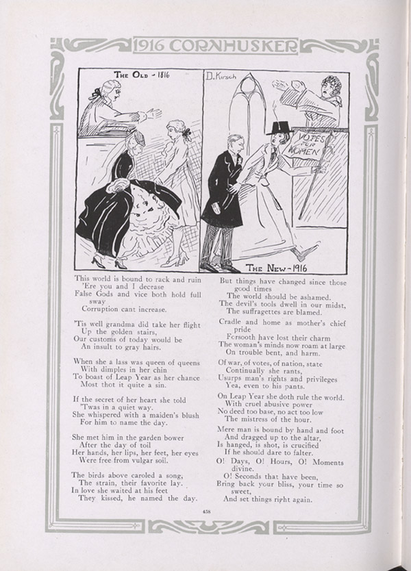 Cornhusker Yearbook Poem Claiming that Suffragists are Ruining the World
