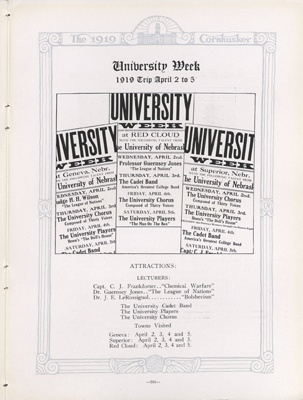 Cornhusker Yearbook page detailing University events in 1919