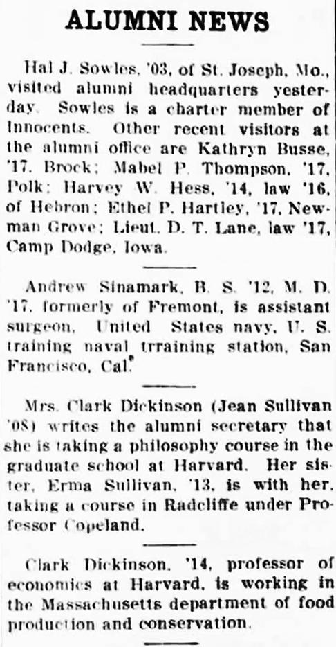 Newspaper article detailing Jean Sullivan's attendance of Harvard