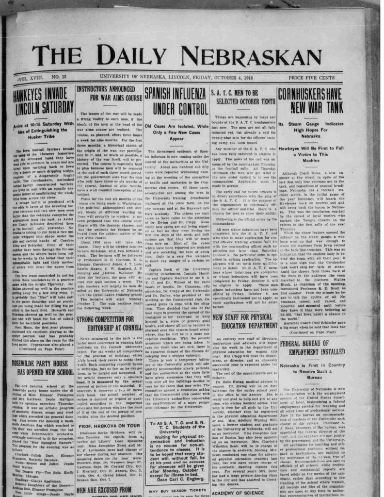 Front page, Daily Nebraskan, 1918-10-04