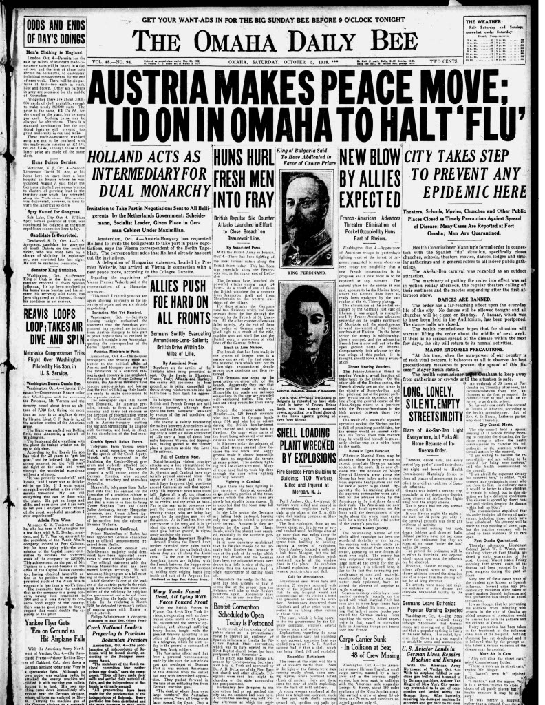 Front page, Omaha Bee, 1918-10-05