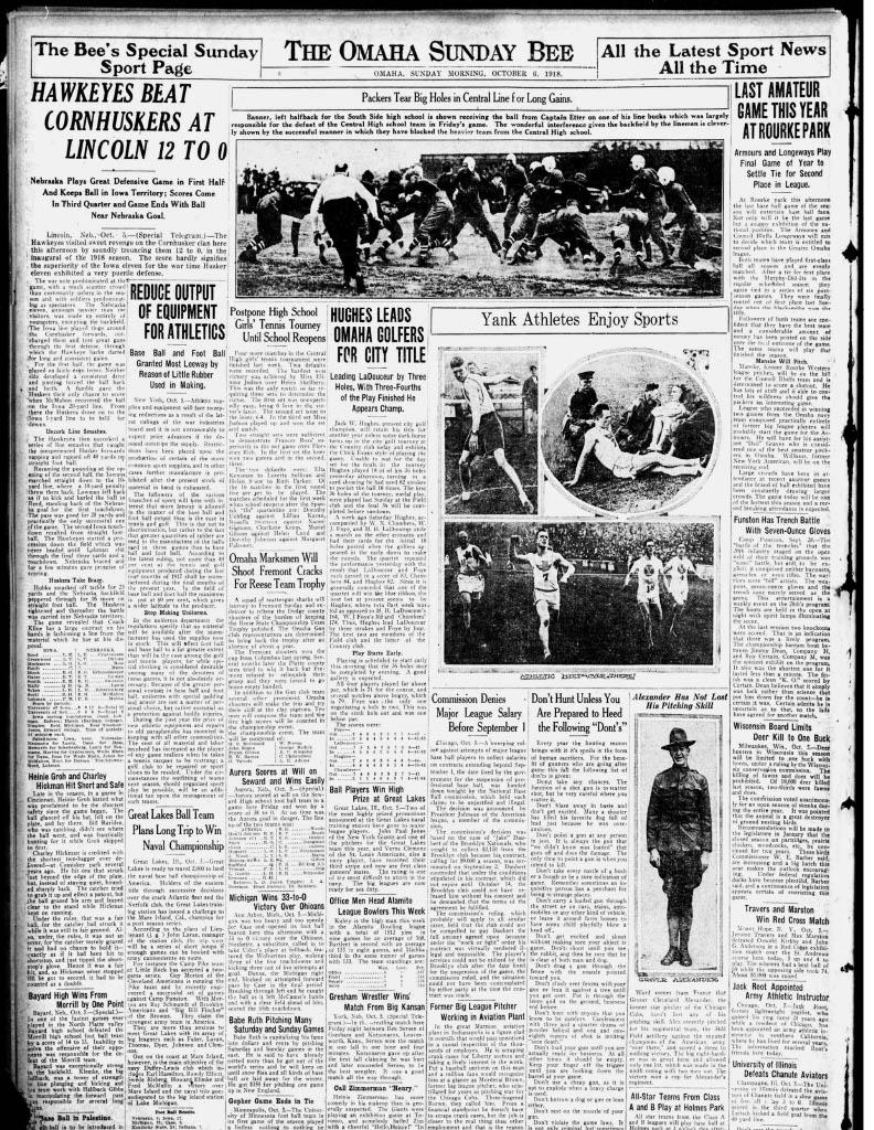 Sports Page, Omaha Bee, 1918-10-06