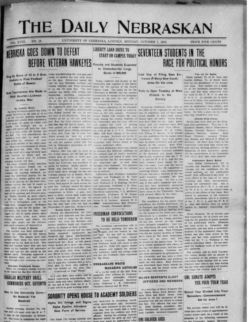 Front page of Daily Nebraskan, 1918-10-07