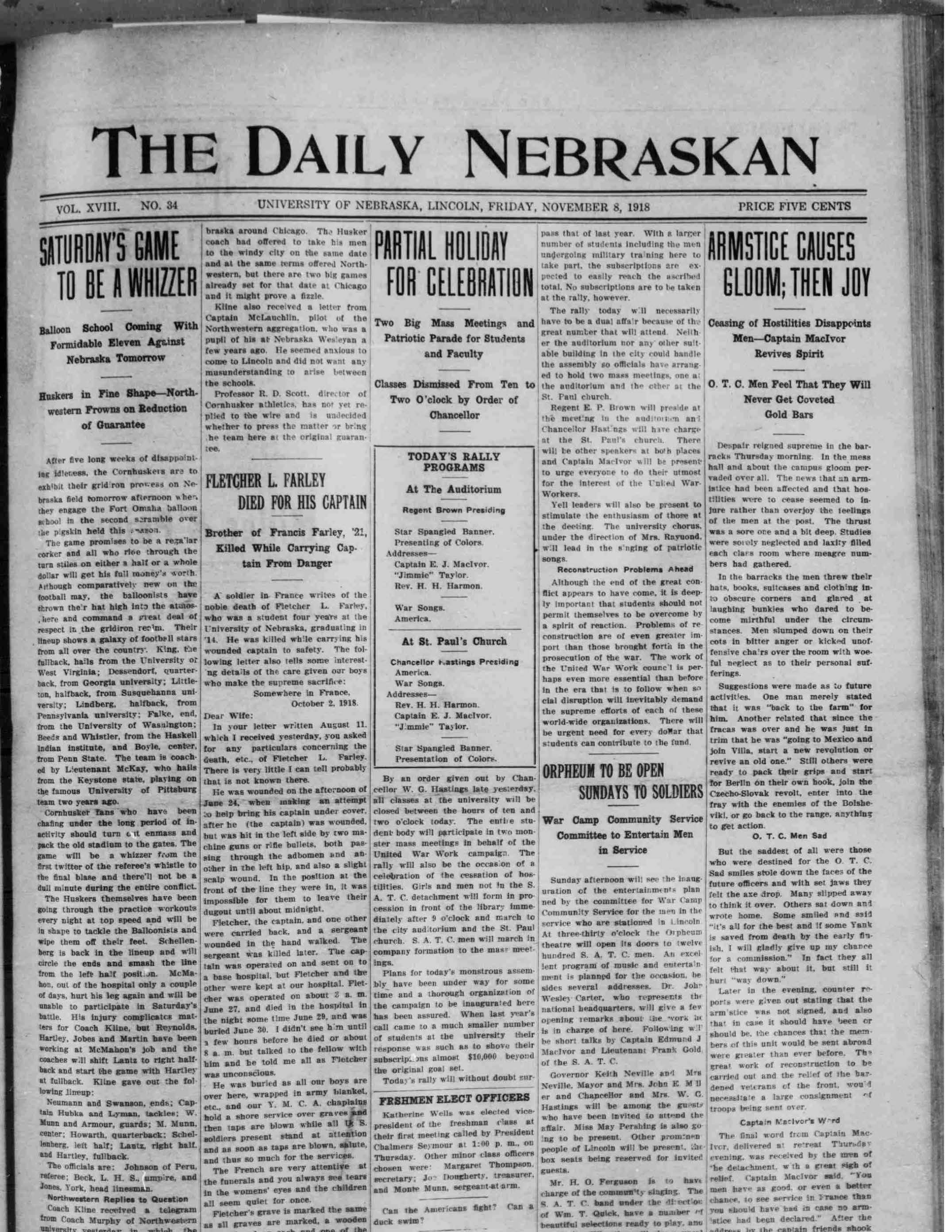 Front page, Daily Nebraskan, 1918-11-08