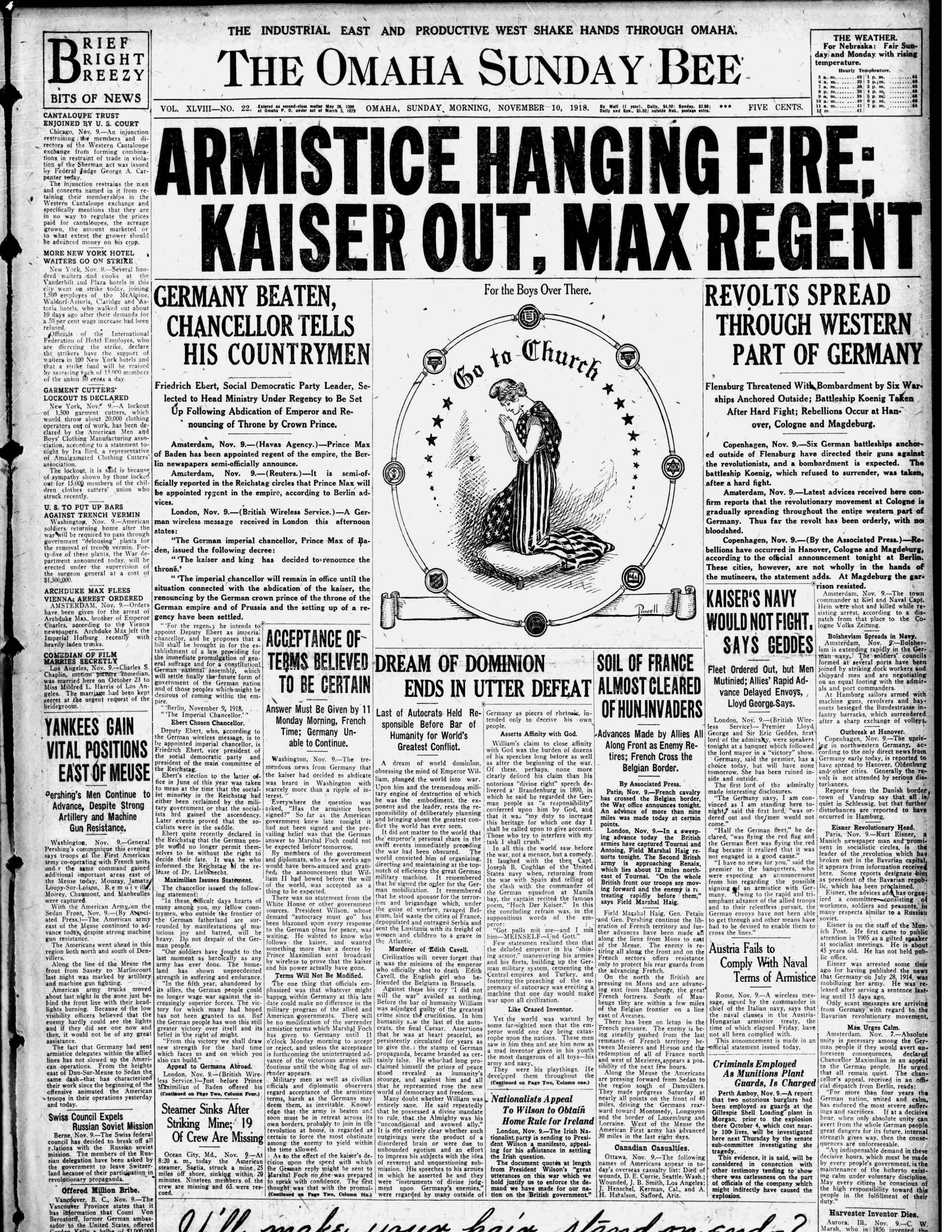Front page, Omaha Bee, 1918-11-01