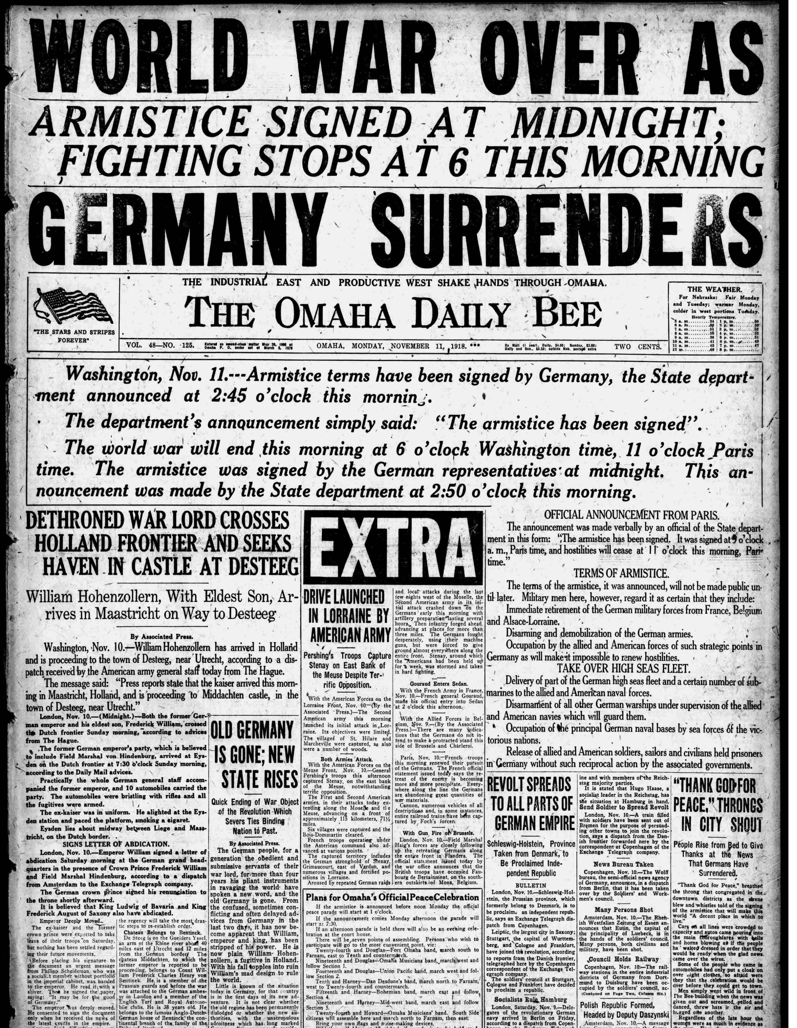 Front page, Omaha Bee, 1918-11-11
