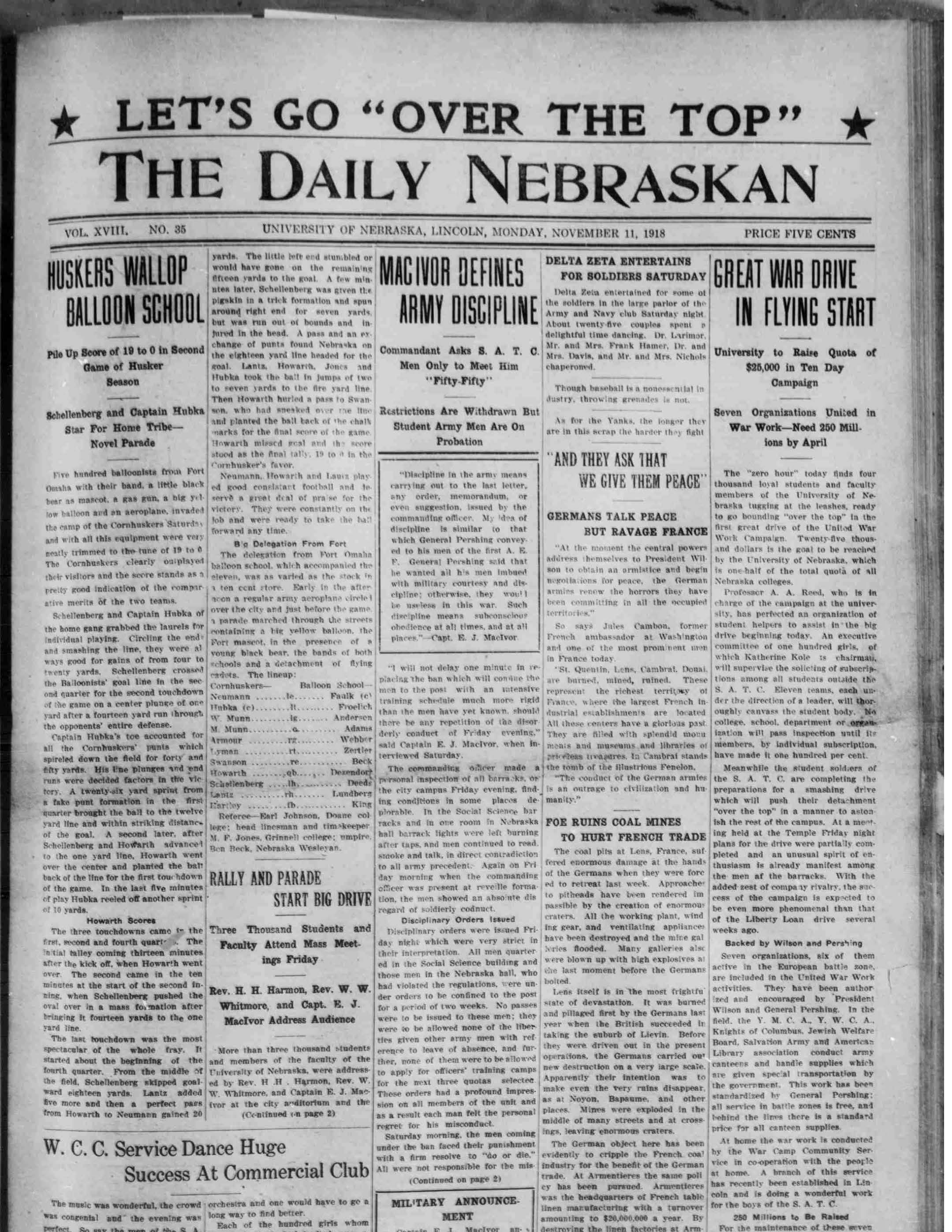 Front page, Daily Nebraskan, 1918-11-11