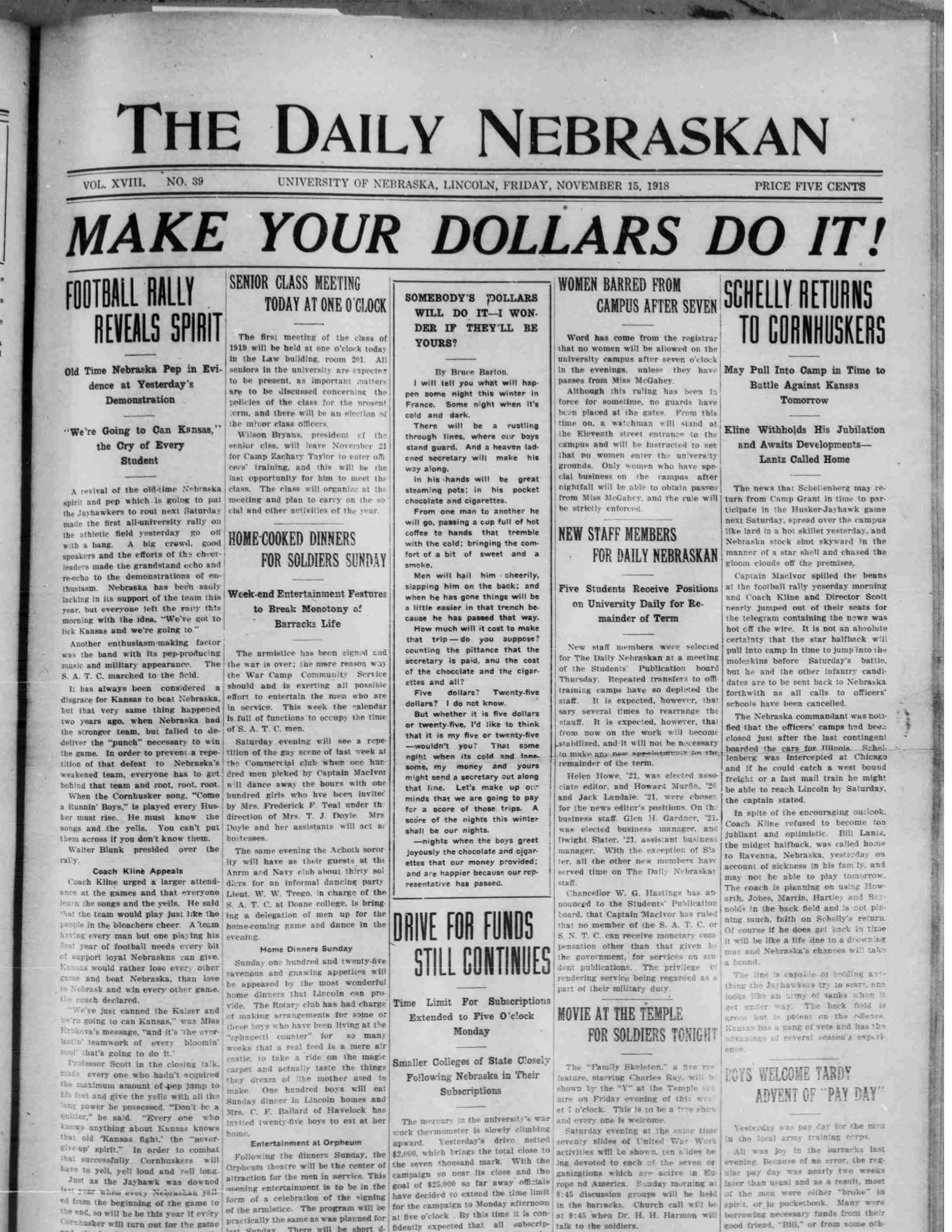Front page, Daily Nebraskan, 1918-11-15