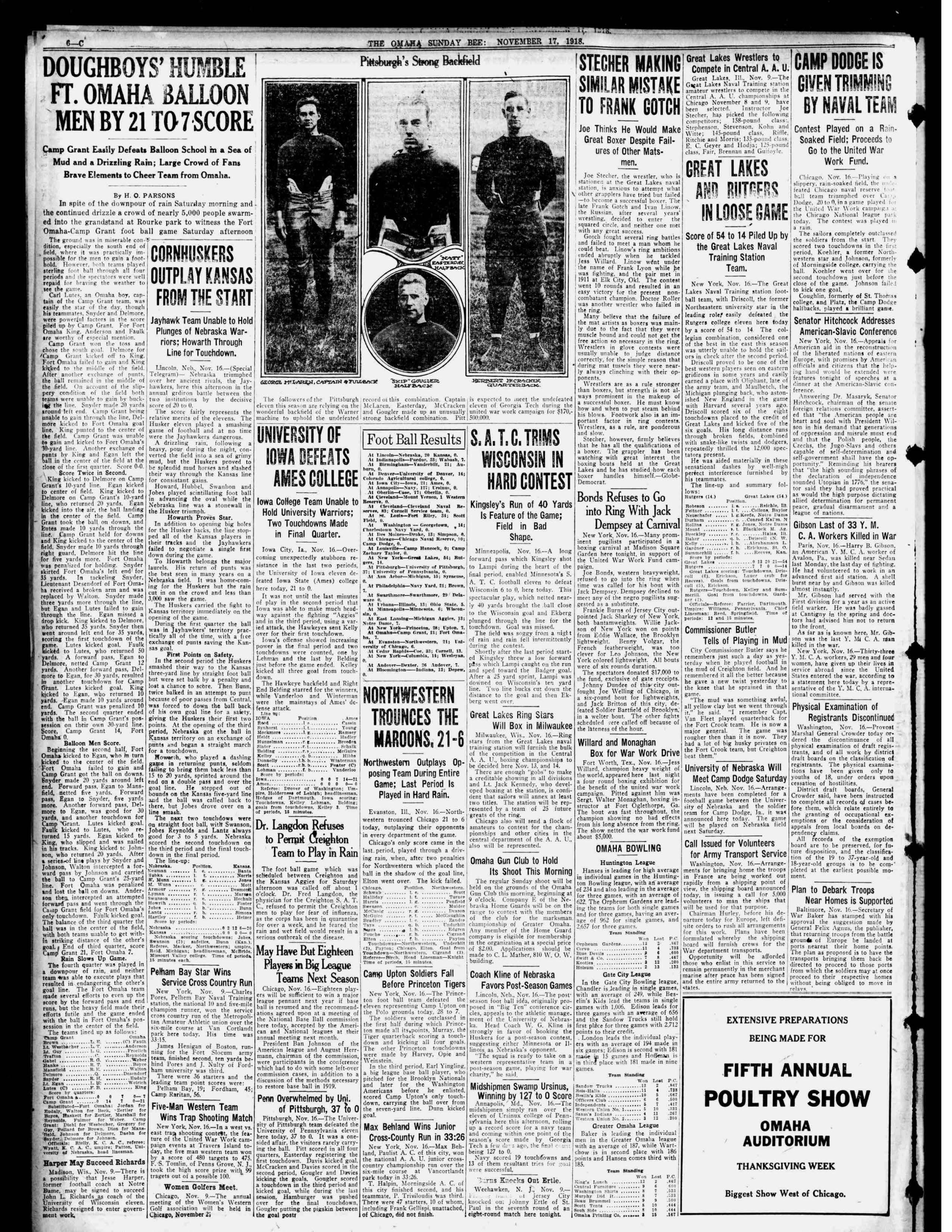 Omaha Bee, sports page, 1918-11-17