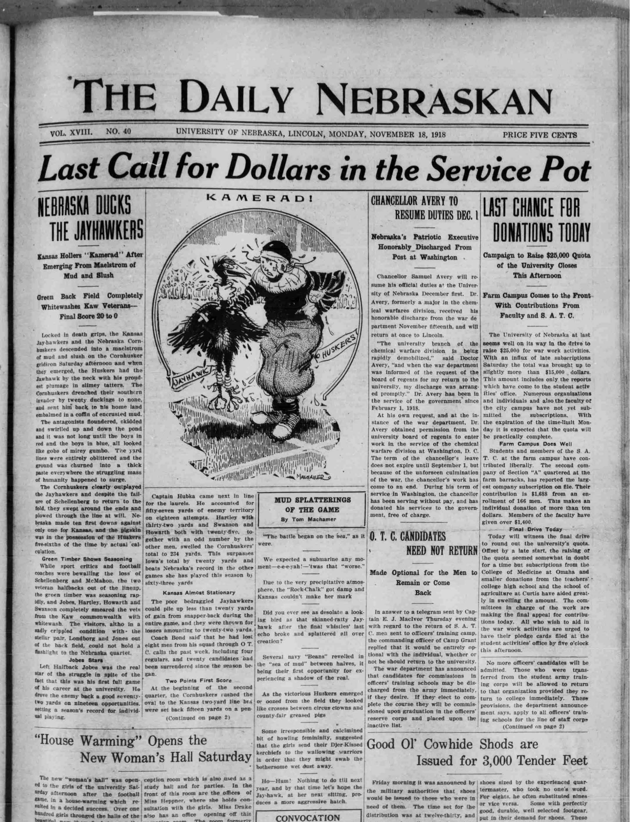 Front page, Daily Nebraskan, 1918-11-18