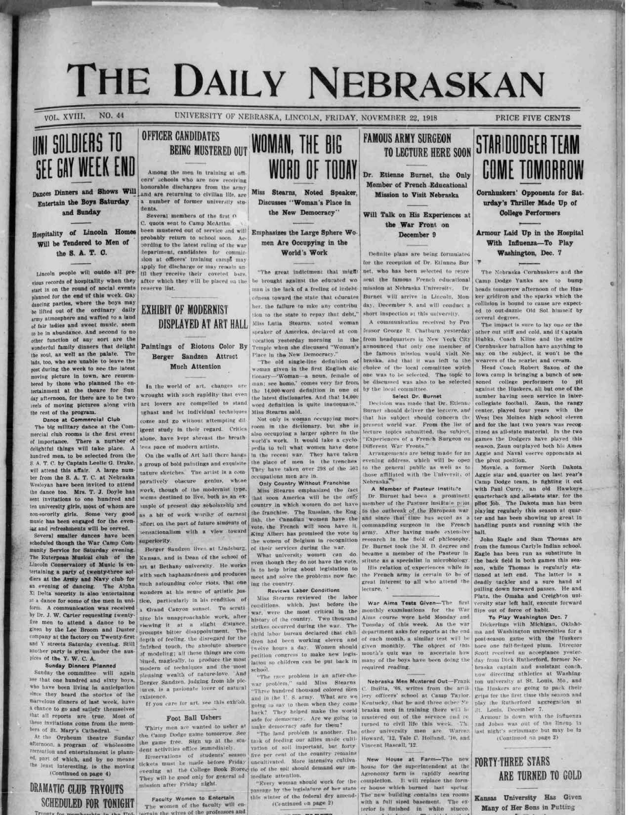 Front page Daily Nebraskan, 1918-11-22