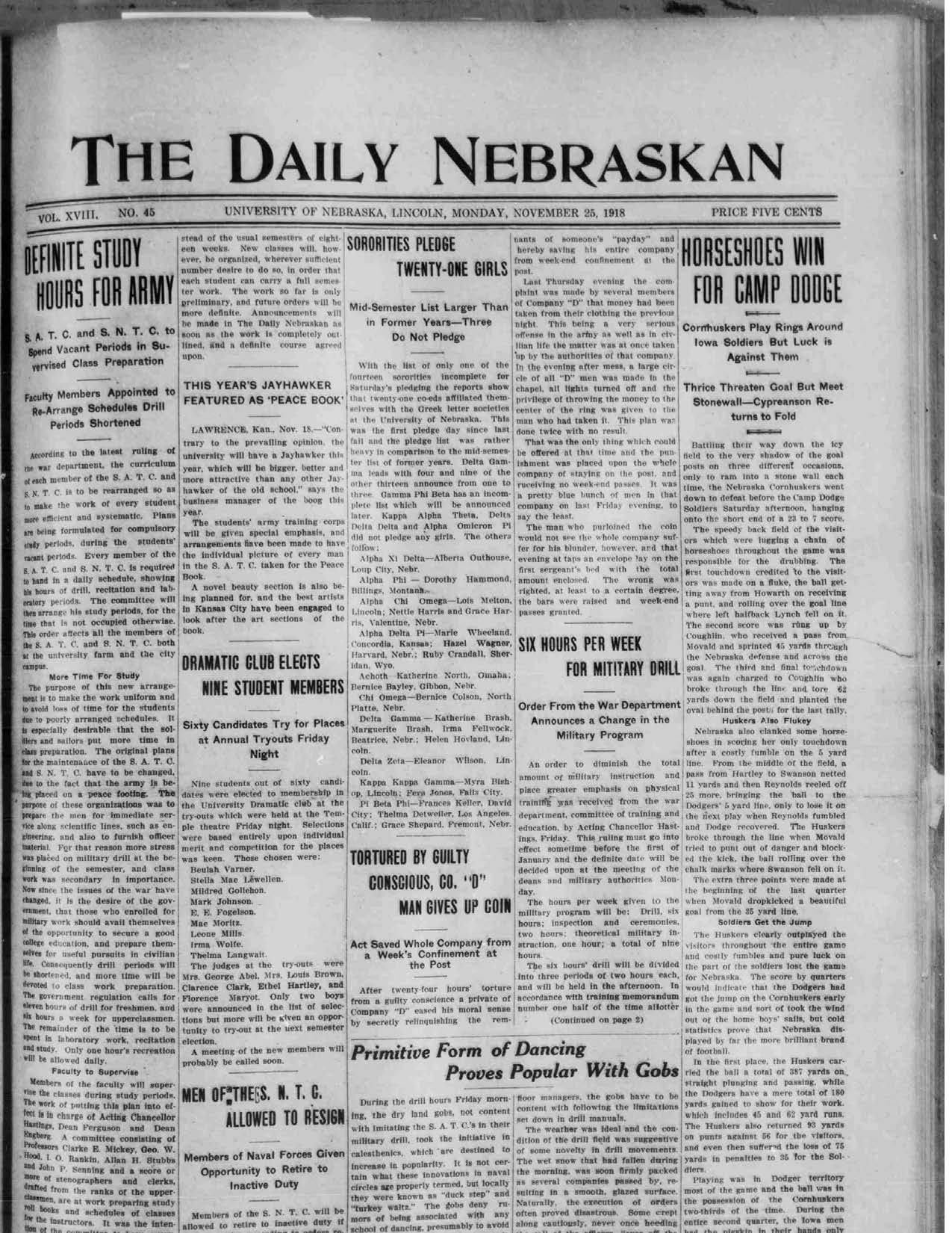 Front page, Daily Nebraskan, 1918-11-25