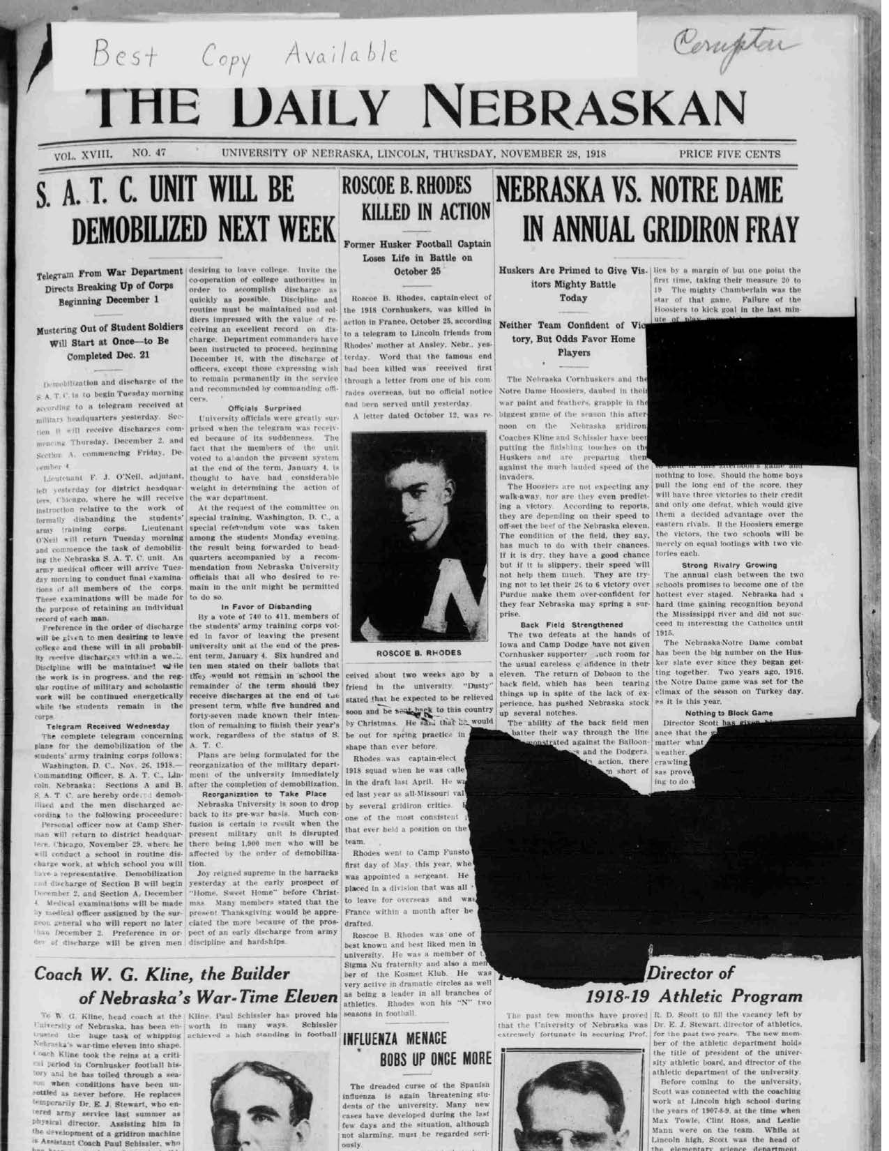 Front page of Daily Nebraskan, 1918-11-28