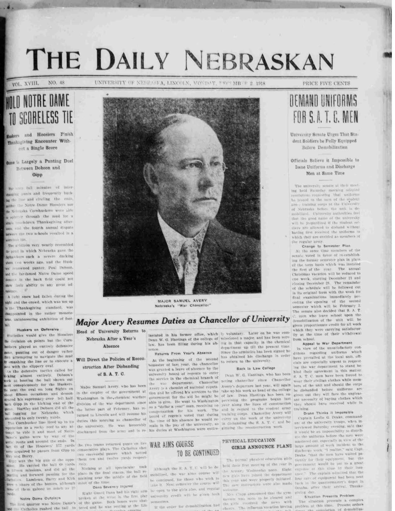 Front page Daily Nebraskan, 1918-12-02