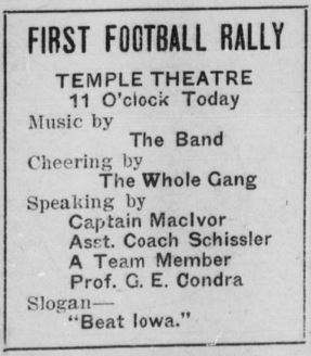 Advertisement for first football rally