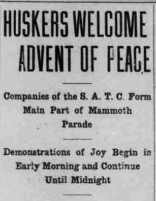 Armistice Day article headline