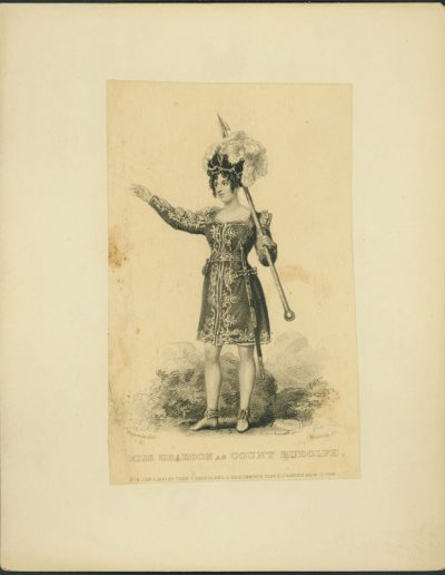 Full length engraving of actor holding a spear
