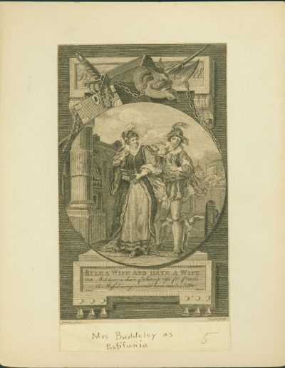 Engraving of man, woman, and theatrical props