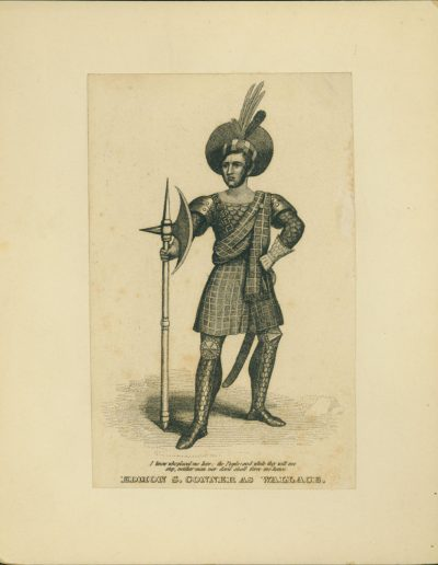 Engraving of actor in costume holding an axe.