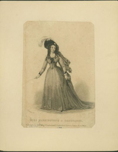 Engraving of actress in full gown, hat, holding a crop.
