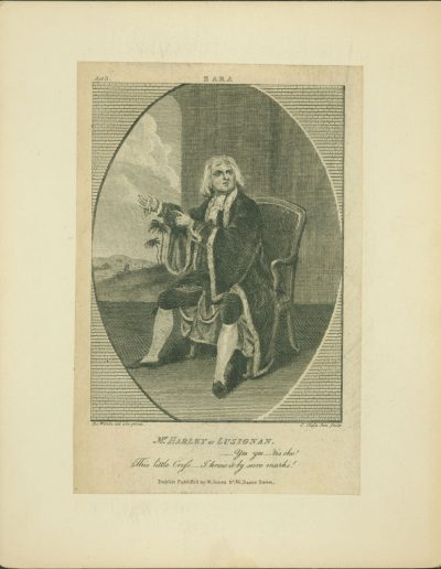 Engraving of seated actor in costume.