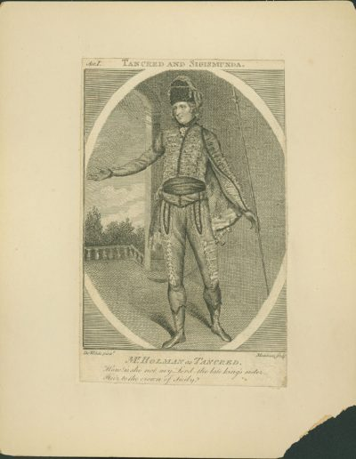 Engraving of an actor in costume.