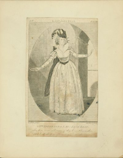 Engraved full length portrait of access in dress.