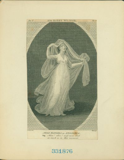 Full length engraving of actor in flowing dress and wispy veil