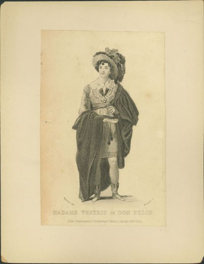 Full-length engraving of actor with a draped cloak and big hat