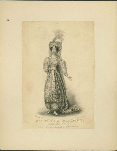 Engraving of actress in formal costume.