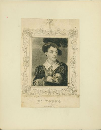 Engraved portrait of actor in costume holding a skull.